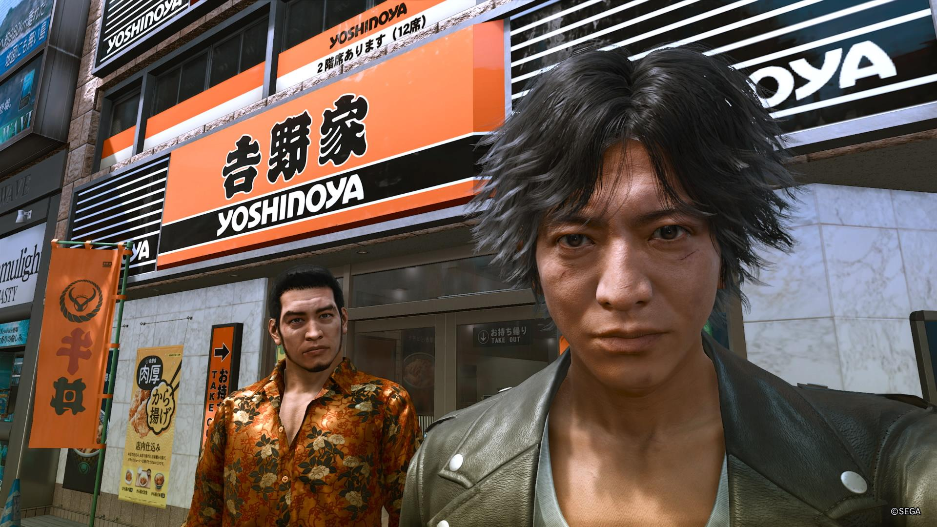 Selfie devant un Yoshinoya dans Lost Judgment.